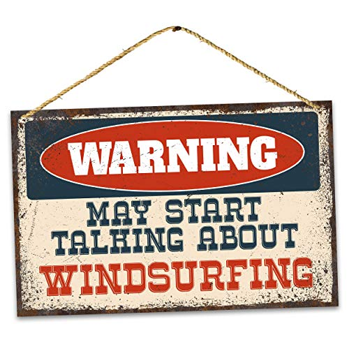 Metallschild – Warnung Windsurfen – Vintage Home Bar Yard Decor Schilder Rechteckig Aluminium Lustige Wandkunst Einfach zu montieren, 20,3 x 30,5 cm