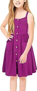 GORLYA Girl's Casual Summer Beach A-Line Spaghetti Strap Button Sundress with Pockets for 4-12T Kids
