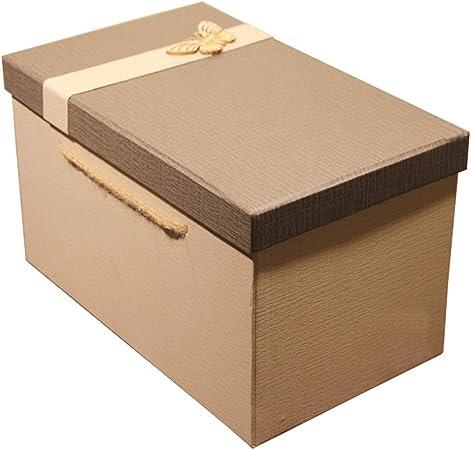 Caja de Regalo Rectangular Grande Gris con Cubierta Material de Papel Duro ecológico Caja de Embalaje de Regalo de cumpleaños (Tamaño : S(26×15.5×16cm)): Amazon.es: Hogar