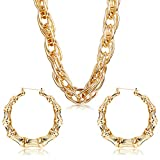 Hanpabum Gold Plated Chunky Rope Chain Necklace and Large Hollow Casting Triangle Bamboo Hoop Earrings Set for Men Women Punk Hip Hop Rapper Style Gold Tone Costume Jewelry