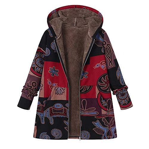 iHENGH Damen Herbst Winter Bequem Mantel Lässig Mode Jacke Frauen Plus Size Frauen Mit Kapuze Langarm Baumwolle Leinen Flauschigen Pelz Reißverschluss Mantel Outwear(Grau, L)