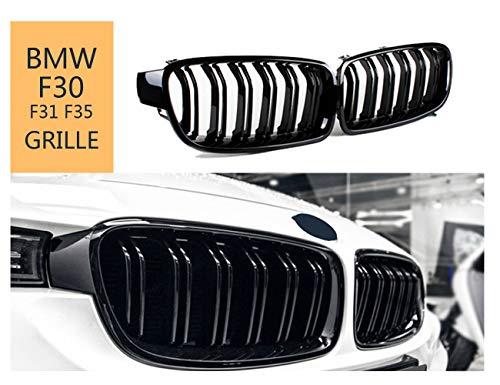 Parrilla de defensa delantera para F30 F31 2012-2019 3 Series 318d 320d 330d 320i 328i 335i 335i xDrive Twin Fins - negro brillante