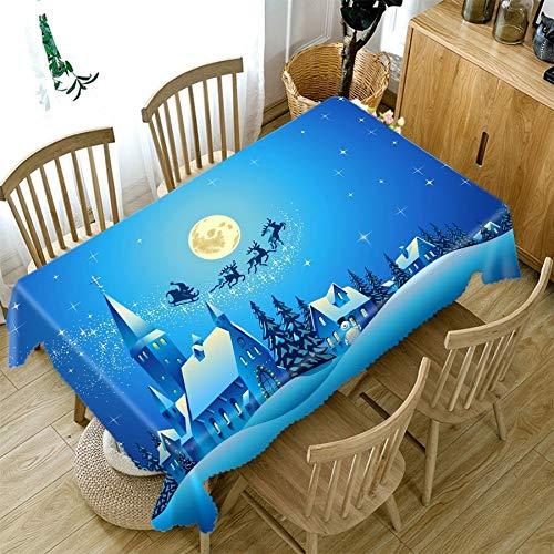 XXDD Mantel de Navidad Personalizable patrón de Nochebuena Azul Espesar Mantel de Año Nuevo decoración del hogar A1 150x210cm