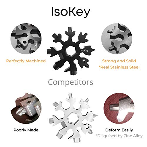 IsoKey Snowflake Multitool High Grade Stainless Steel 18 in 1 Multitool | Keychain | Screwdriver