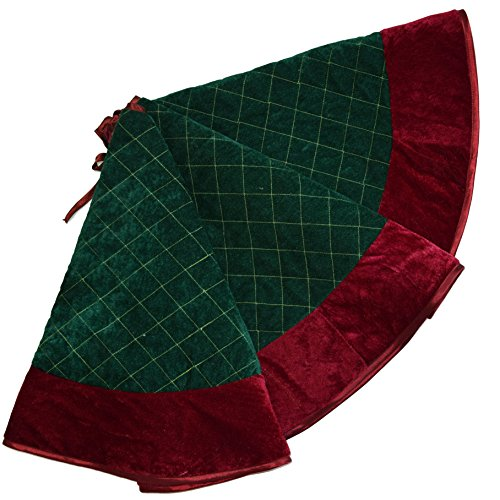 SORRENTO Green velvet diamond quilted embroidery decoration skirt with red border decoration Christmas tree skirt 50inch