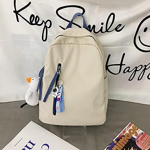 Bolsos Mochila Backpack Versión Coreana De Mochila para Estudiantes De Secundaria Masculina Y Femenina Mochila De Ocio Joker Mochila De Viento Simple 19 Pulgadas Blan