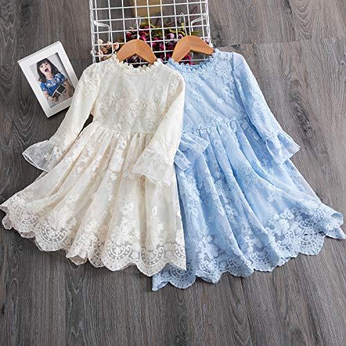 TTYAOVO Vestido de Fiesta de Princesa de Manga Larga de Encaje para Niñas Talla (120) 4-5 Años 670 Beige