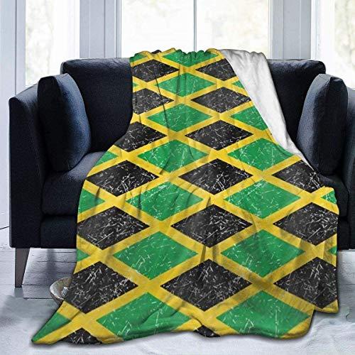 gfhfdjhf Karibische Flanell-Fleecedecke mit jamaikanischer Flagge UltrSoft 380 GSM Leichte Mikrofaserdecke Ganzjährig antistatische, warme, Dicke Decke für das SofCouch-Bett 60