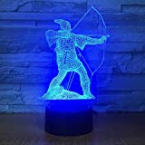3D LED Luz de noche Lámpara 7 colores LED Touch lámpara,Arquero en forma de arco y flecha Con cable de carga USB Acrílico Plano RGB Noche Modo con ABS Base Control Remoto