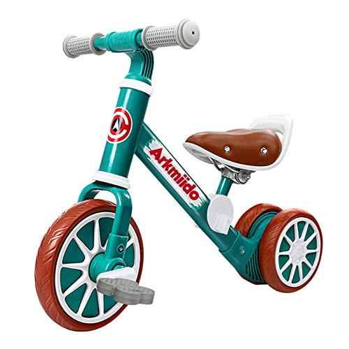 Arkmiido 2 in 1 Kids Balance Bike with Detachable Pedals, Baby Trike/Tricycle, Toddlers Walking Bicycle for 2Years to 4 Years Old Boys and Girls Indoor Outdoor (Green)