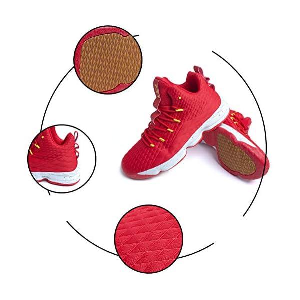 51omC6jbtEL. SS600  - Zapatos Hombre Deporte de Baloncesto Sneakers de Malla para Correr Zapatillas Antideslizantes Negro Rojo Champán Verde…
