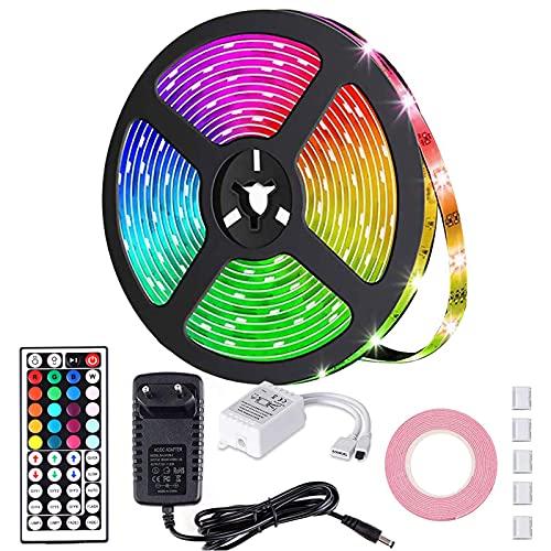 CSNDICE Striscia LED 5M, IP65 Impermeabile Colorate Strisce LED Dimmerabile 150 LED RGB per Camera da Letto, TV Retroilluminazione, Festival, Decorazioni per Feste (5m)