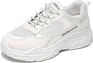 Zapatillas de Deporte de Plataforma de Mujer Patchwork Lace Up Calzado Deportivo Informal Malla Transpirable Luz Calzado p...