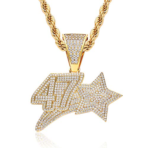 Dxnbp Hip Hop 47 Star Cz Letter Pendant For Men Women Creative Pentagram Necklace Micro Pave Simulated Diamond Iced Out Bling Silver Plated Necklace