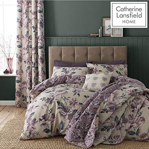 Catherine Lansfield Juego de Funda de edredón de fácil Cuidado con diseño Floral, Color Morado