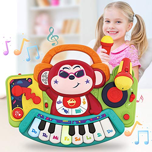 VATOS Musical Toy for Girls 1 2 3 4 5 year old,Monkey Piano Musical Instrument,Activity Learning and Development Early Educational Music Toy With Microphone/DJ Keyboard Gift Toys for Kids/Boys