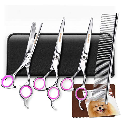 Dog Grooming Scissors, Gimars Heavy-Duty Titanium Coated Stainless Steel Pet Grooming Trimmer Kit