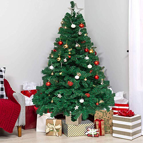 6 FT Artificial Christmas Tree, Xmas Spruce Tree with Solid Metal Stand, 1,000 Tips, Easy Assembly, Perfect for Indoor and Outdoor Holiday Decoration, Green