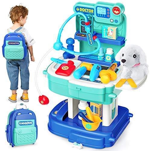 Sanlebi Tierarztkoffer Kinder Rollenspielset Arztkoffer Vet Kit mit Rucksack Hund Geschenk für Kinder Mädchen Junge