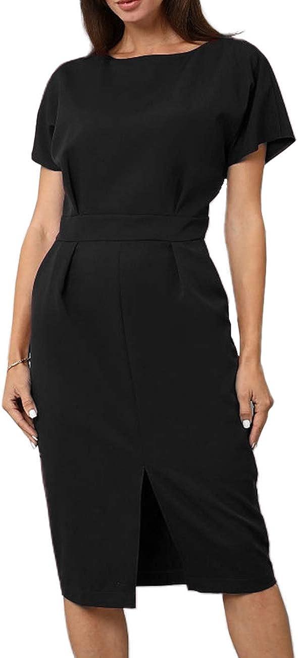 Simple Flavor Women's Short Sleeve Wear to Work Dress Split Front Solid Office Midi Dress with Pockets