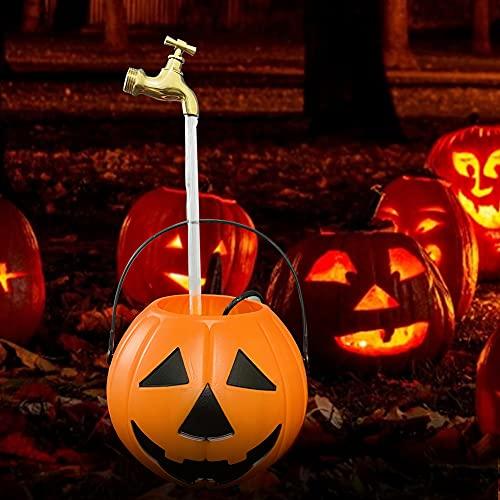 ConBlom Cubo de Calabaza de Halloween con Fuente Invisible, Cubo de Dulces de Truco o Trato Regalo Recipiente, Fuente De Grifo Invisible MáGico, Bricolaje Sorpresa Fiestas en el Patio de Halloween