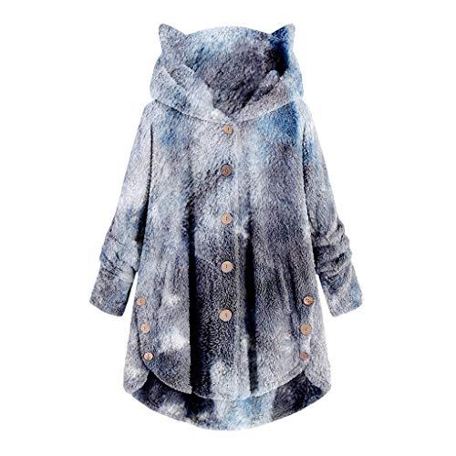 YANFANG Abrigo para Mujer Chaqueta Abrigo cálido Caliente y Esponjoso Flannel Tipo Manta Talla Grande de Invierno con Bolsillo con Capucha de Felpa XLNavy