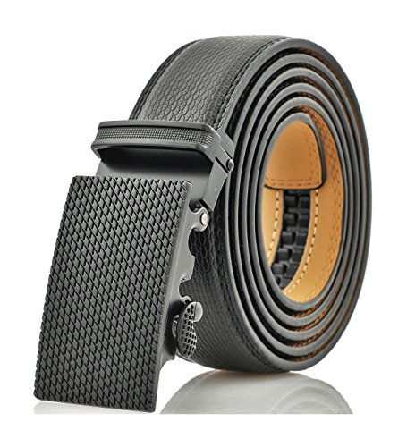 Marino Men's Genuine Leather Ratchet Dress Belt With Automatic Buckle, Enclosed in an Elegant Gift Box - Black - Adjustable from 28' to 44' Waist