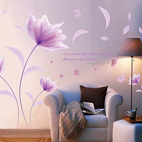 wandaufkleber wandtattoos Ronamick DIY Lila Blumen Lila romantische Wärme TV Hintergrund Wand Dekoration Entfernbare Wandaufkleber Wandtattoo Wandaufkleber Sticker Wanddeko (Lila)