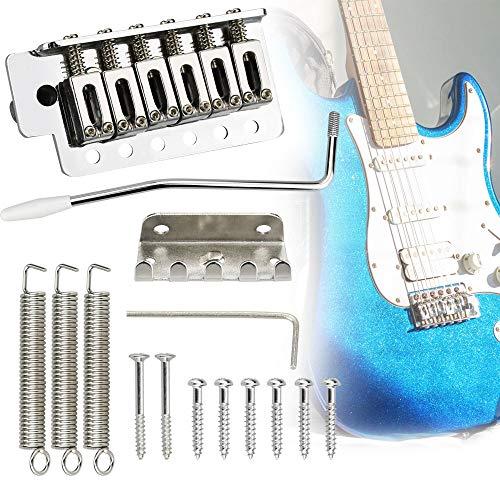 RMENOOR Puente de Repuesto para Guitarra Sillín de Aleación de Cinc Tremolo Trem Guitar Tremolo Bridge con Barra Tremolo Bridge Puente Tremolo Guitarra Eléctrica para Fender (Total 14 Piezas)