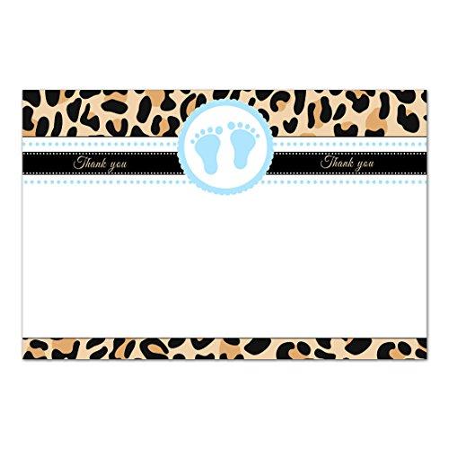 30 tarjetas de agradecimiento en blanco leopardo Cheetah azul marrón papel fotográfico