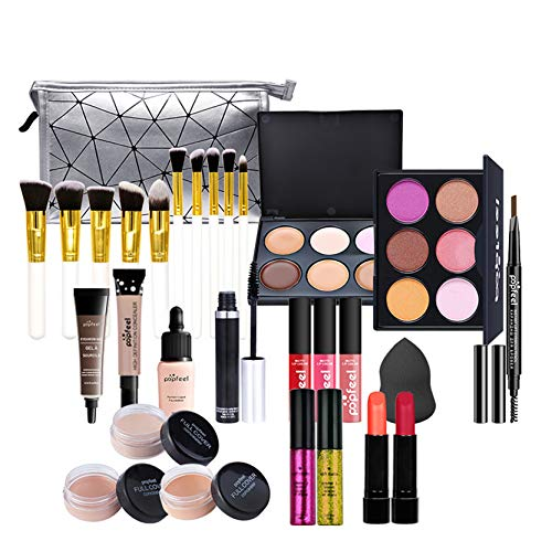 JasCherry 28 Stücke Multifunktions Schmink Geschenkset Kosmetik Makeup Set für Gesicht, Augenbraue, Augen und Lippen - Ideal Beauty Geschenkboxen mit Kosmetiktasche