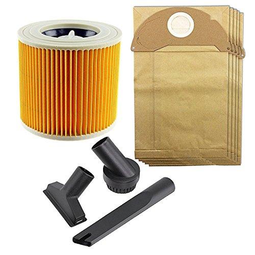 Spares2go Mini outil Brosse de nettoyage et sacs à poussière et kit de filtres pour Karcher MV2 A2024pt pour tablette A2054me Wet & Dry Aspirateur