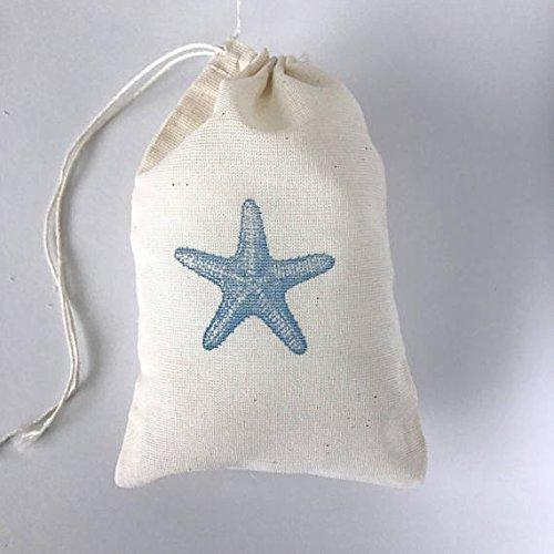 10 Blue Starfish Favor Bags Nautical Party Bag Beach Gift Bag Nautical Goodie Candy Wedding Welcome Birthday Bachelorette Hawaii Ocean Baby Shower