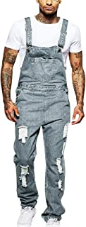 iYYVV Men's Overall Casual Jumpsuit Jeans Wash Broken Pocket Trousers Suspender Pants