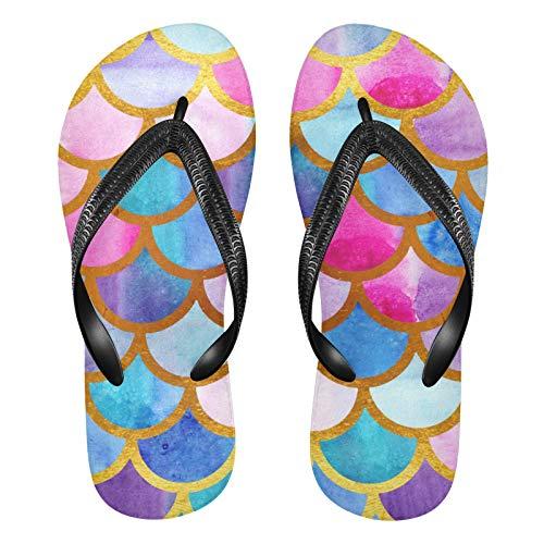 Linomo Chanclas para hombre y mujer, multicolor, con diseño de sirena, para verano, para la playa, color Multicolor, talla 38/39 EU