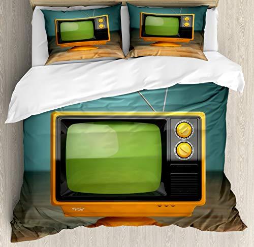 ABAKUHAUS Tv programma Dekbedovertrekset, Vintage Television, Decoratieve 3-delige Bedset met 2 Sierslopen, 230 cm x 220 cm, Veelkleurig
