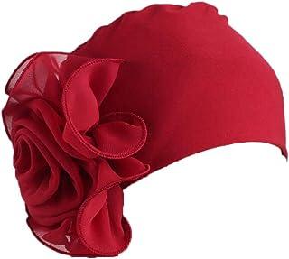 Gorra Beanie De Tela con Un Adorno De Flor Grande Estilo Retro Elegante Turbante para Cabeza De Mujer para Boda Fiesta Cáncer Quimioterapia Chemo Oncológico Noche Pèrdida de Pelo