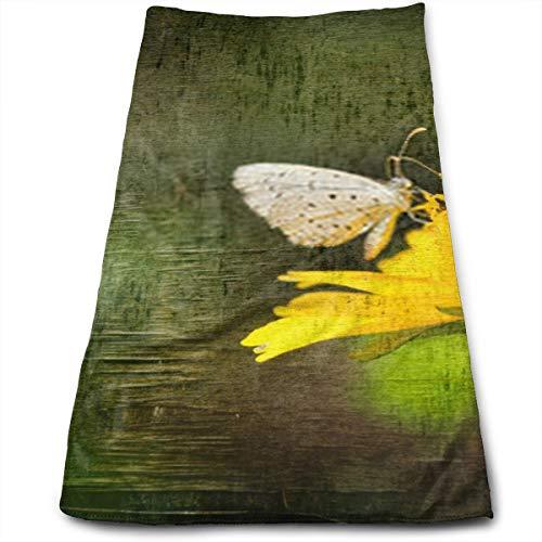 YudoHong Flor de Mariposa sobre Fondo Grunge Doble exposición Fondo de Hadas Toalla de Mano súper Suave y Altamente Absorbente para baño