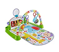 Fisher Price Piano Gym allows your baby to kick up some playtime fun while learning Features a portable piano (with nine keys, pictures, lights and numbers) and five activity toys (self-discovery mirror, elephant teether, crinkle panda, lion rattle a...