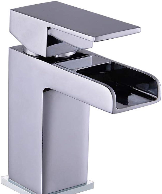 Quadratischer Wasserfall-wasserhahn Waschbecken Gemischt Hei Und Kalt Kupferhahn