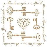 TODO-STENCIL Deco Vintage Composición 199 Llaves. Medidas aproximadas: Medida Exterior 20 x 20 cm Medida del diseño:18,3 x 18,4 cm