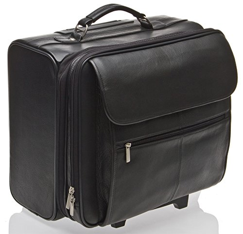 Hideonline - Trolley, borsa da lavoro con ruote, borsa per portatile, in vera pelle, colore nero