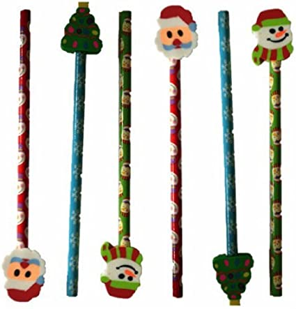 Pinata Rubbers Loot//Party Bag Fillers 6 Christmas Pencils /& Erasers