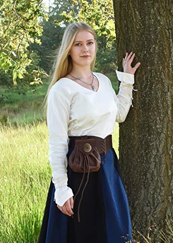 Mittelalterlicher Rock, weit ausgestellt aus schwerer Baumwolle Mittelalter LARP Wikinger Kostüm verschiedene Ausführungen (XXL, Schwarz/Blau) - 3