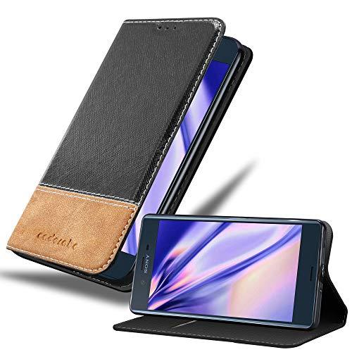 Cadorabo Hülle für Sony Xperia XZ/XZs in SCHWARZ BRAUN – Handyhülle mit Magnetverschluss, Standfunktion & Kartenfach – Hülle Cover Schutzhülle Etui Tasche Book Klapp Style