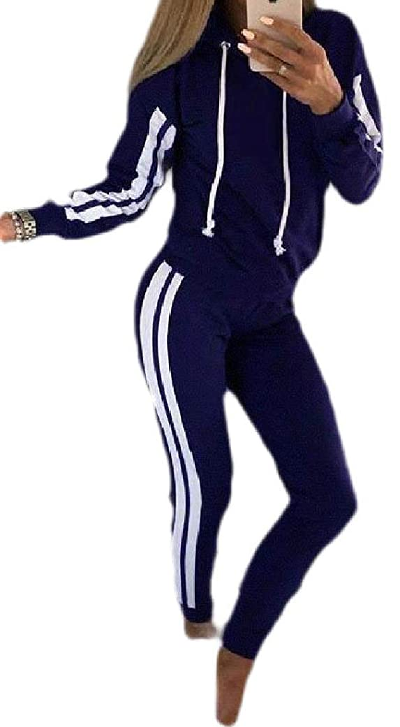 橋恩赦数字Women's Movement Stripe with Hood Sports Suit Outfits