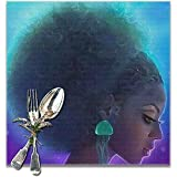 Tovagliette africane di bella donna set di 6 per stuoie lavabili da tavolo da cucina per tavolo da pranzo facili da pulire.
