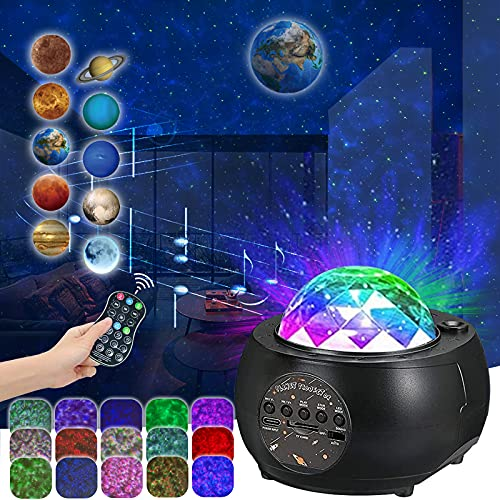 Proyector LED de cielo estrellado Hamazar, luz nocturna estrellado, proyector para bebés, niños y adultos, lámpara ayuda dormir con música, estrellas, planetas, efecto ondas agua, altavoz Bluetooth