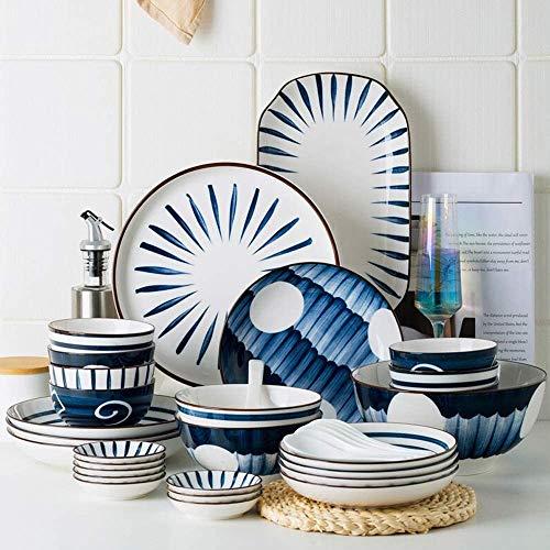 QUEMIN Servicio de 42 Piezas para 8 Juegos de vajilla, Placas de Porcelana y Conjuntos de tazones, Creatividad Moderna Platos Redondos para Cocina/Comedor, 4 Colores