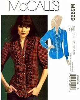 McCall's 5929 Sewing Pattern Misses Shirts Tuxedo Ruffle Size 14 - 20
